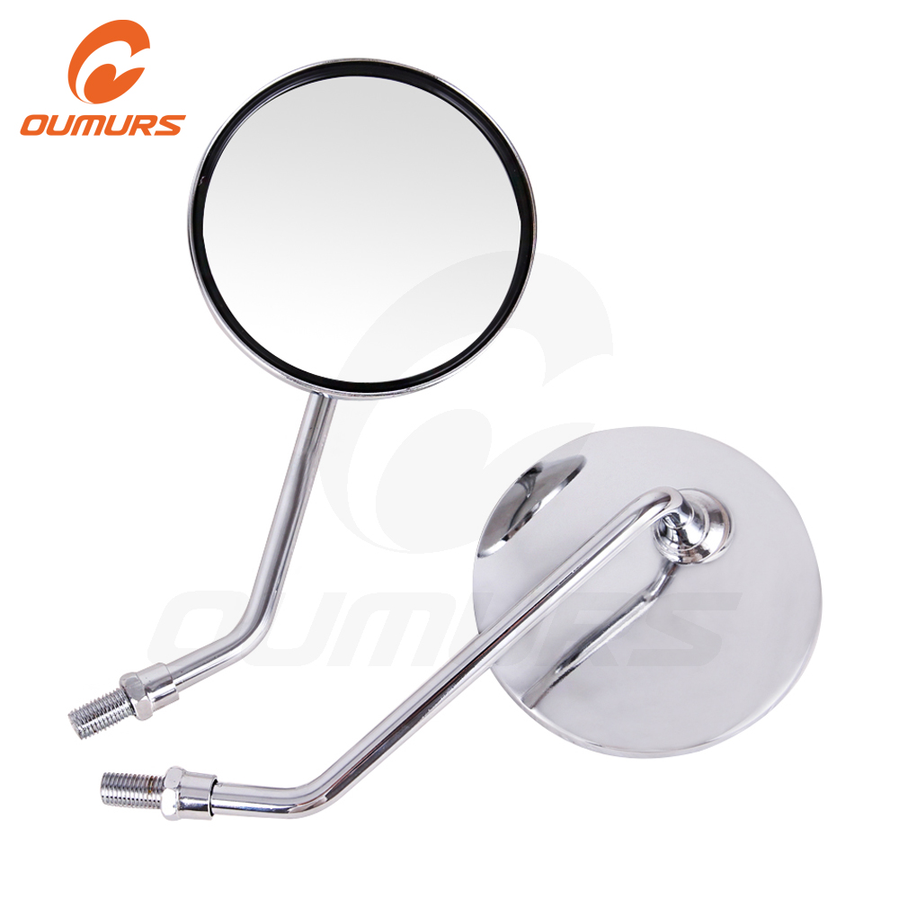 OUMURS Motorcycle Rearview Mirror Scooter BackSide Mirrors Chrome 10mm Electric Car Reflective Universal For Honda Harley Suzuki