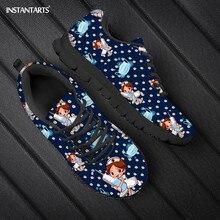 Instanots موضة ثلاثية الأبعاد الكرتون ممرضة الدب يطبع الشقق أحذية الدانتيل يصل أحذية رياضية للمراهقات ماركة تصميم امرأة الربيع/الخريف