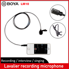 BOYA BY LM10 Lavalier Microphone Omnidirectional clip on mini mic Video Recorder for iPhones mobile Smartphone Canon Nikon DSLR