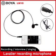 BOYA BY LM10 Lavalier ميكروفون متعدد الاتجاهات كليب على هيئة التصنيع العسكري صغير مسجل فيديو لأجهزة أي فون الهاتف الذكي كانون نيكون DSLR