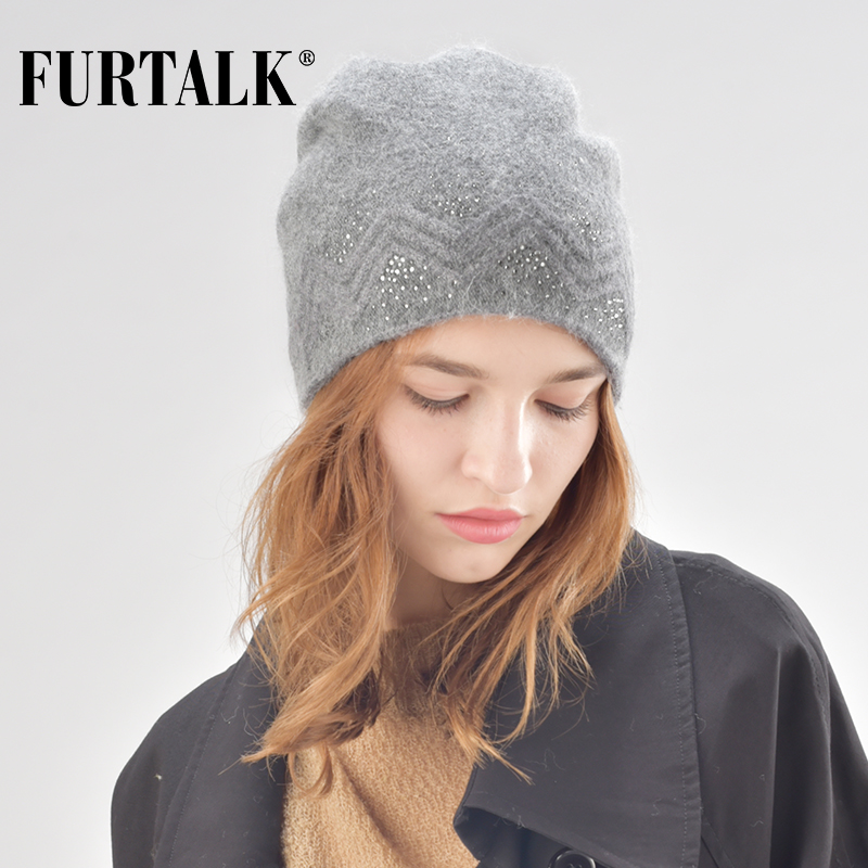 FURTALK Autumn Winter Wool Beanie Hat For Women Rabbit Fur Hats With Rhinestones Double Ling Skullies Beanie Cap For Female