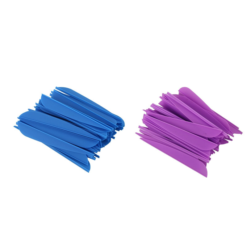 Hot Arrows Vanes 4 Inch Plastic Feather Fletching For DIY Archery Arrows 50 Pack(Purple) & 50 Pack(Blue)
