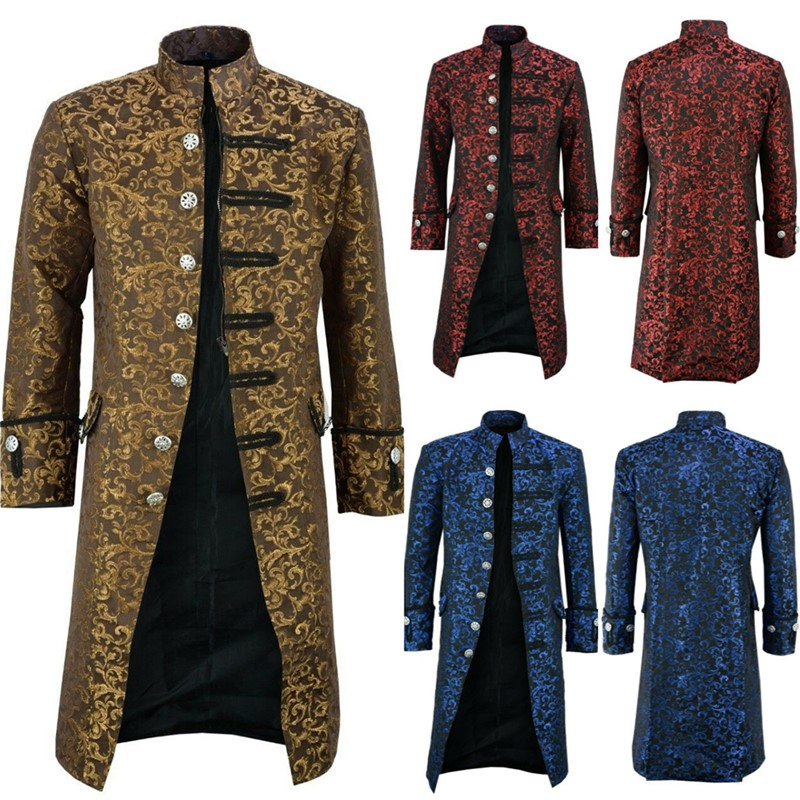 New Men's Vintage Tailcoat Jacket Gothic Steampunk Long Sleeve Jacket Victorian Dress Jacket Halloween Casual Clothes For Adult