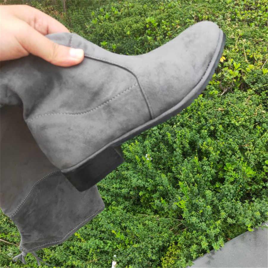 Vrouw 2019 Hoge Verhogen Helling Bandage Lange Laarzen