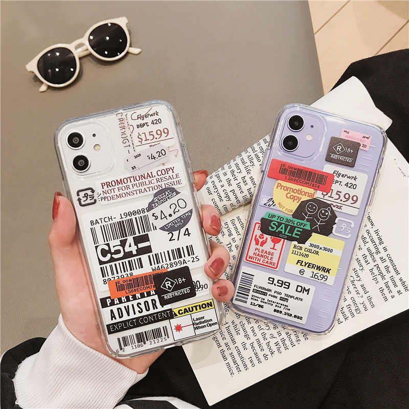Luxury Clear Stamp Label Barcode Phone Case for iPhone 11 12 mini Pro SE 2020 X XR XS Max 8 7 Plus Cover Fashion Cute Soft Cases