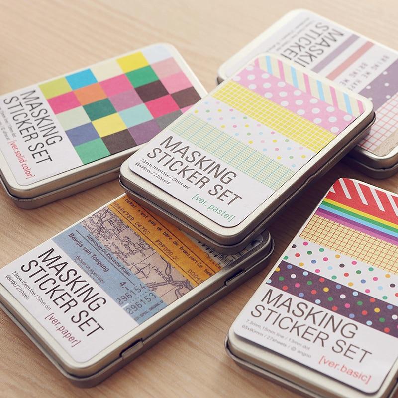 27pcs/box Korea Stationery Tin Hand Books Sticker Set Sticker Diy Diary Sticker School Supplies Material Escolar Kawaii