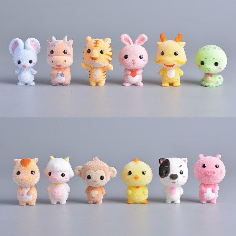 Exquisite Anime Animal Plastic Flocking Doll Creative Short Stuffed Plush Toys