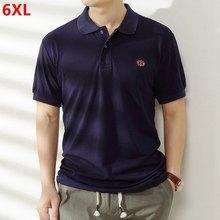 Gran tamaño algodón Polo de manga corta-camisas hombre aumento plus tamaño marea Tops solapa delgada camisas de Polo extra grande 6XL