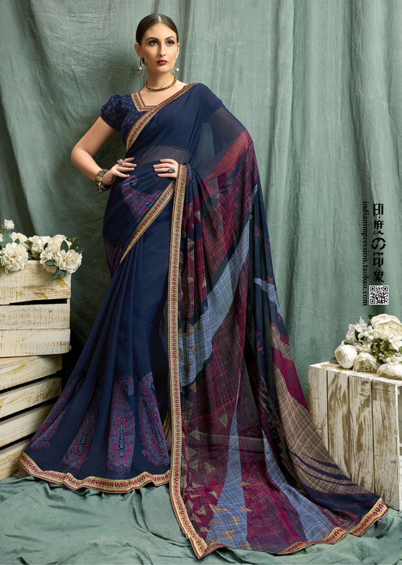Indian Women Saree Wedding Traditional Gift Printed Designer Saree Bridal Collection Silk...