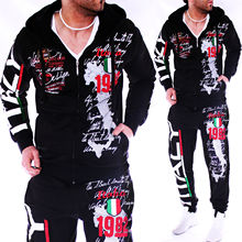 ZOGAA Autumn Men Tracksuit Hoodies Jacket+Jogger Sweatpants Man Printing Suits 2PCS Casual Patchwork Sportwear Set