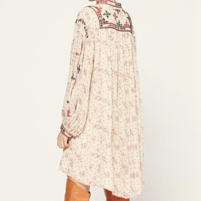 2021 New Early Spring New Retro Lantern Long Sleeve Fashion Loose Floral Print Embroidery Dress Women 3