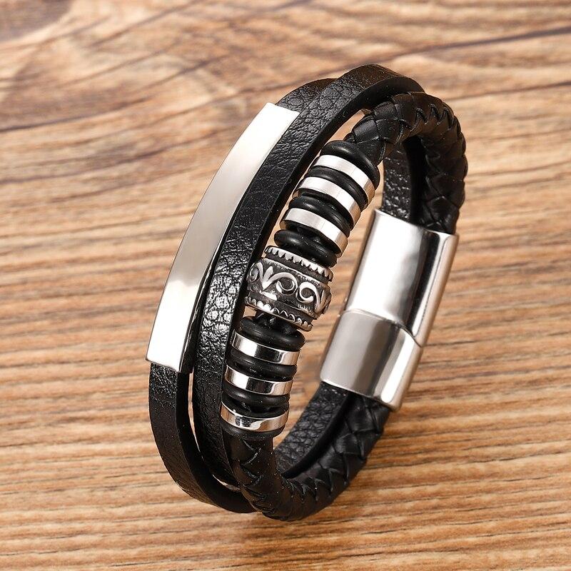 Bracelet en cuir Chakra en acier inoxydable, Bracelet personnalisé avec breloques pour hommes, accessoires noirs et bruns, offre spéciale