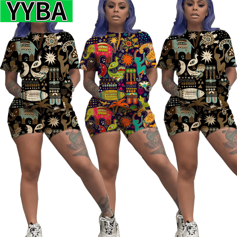 YYBA Two-piece Set  Lounge Wear Pullover Streetwear Women's Clothing Joggers Trendy Club Outfits Cute Animal Print  Shorts