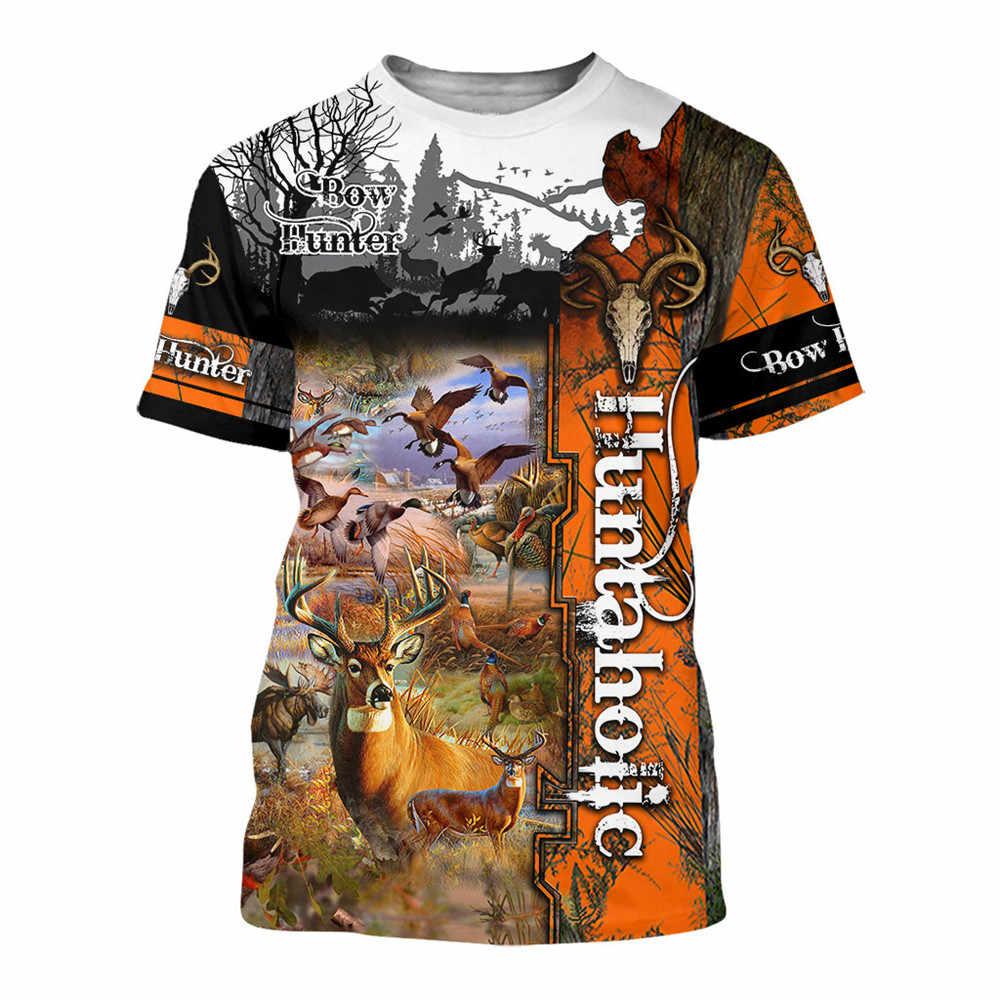 ファッションクール狩猟 3D トレーナー野生アヒル鹿パーカー