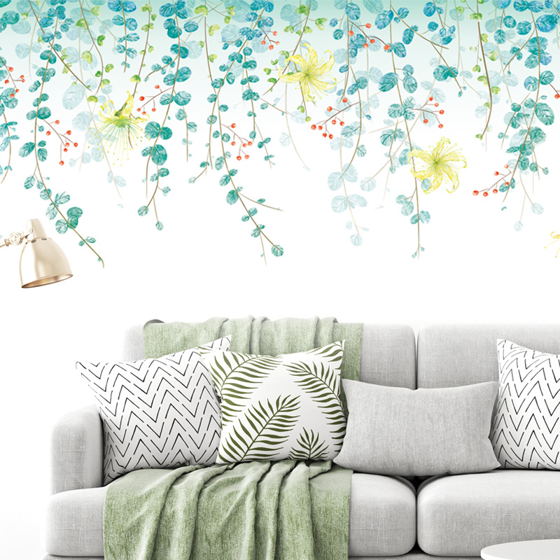 Eco-friendly Green Vine Wall Decals Bedroom Living Room Sofa TV Background Wall Stickers Removable DIY Large Stickers