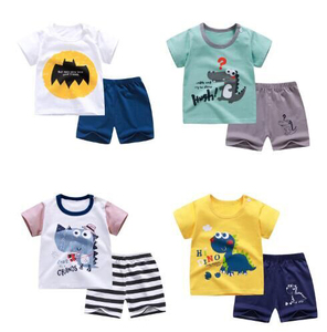 cotton Summer baby children soft shorts suit t-shirt todder boy and girl kids dinosaur cartoon cute clothes cheap stuff for 0-6Y(China)