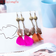 Bohemian feather trinkets Korean personality accessories are popular vintage earrings ethnic tribal antique