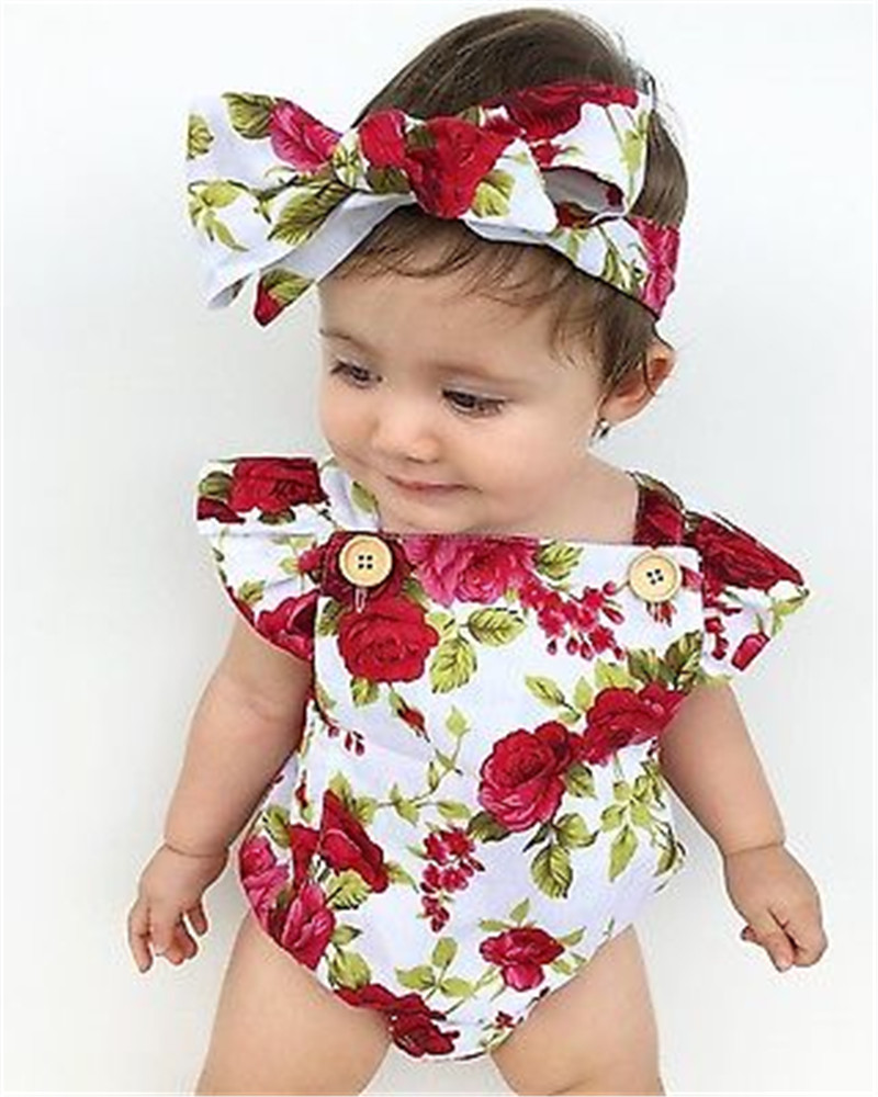 2019 US Cute Newborn Baby Girls Clothes Flower Jumpsuit   Romper   + Headband Outfits 2pcs For 0-24Months Baby