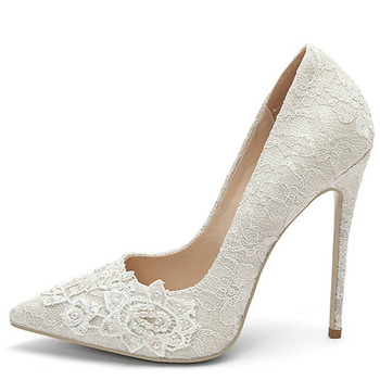 YECHNE Woman White Bridal Heel Shoes Wedding High Heels Shoes Women's Plus Size Pointed Toe Pumps Party Stiletto Graffiti