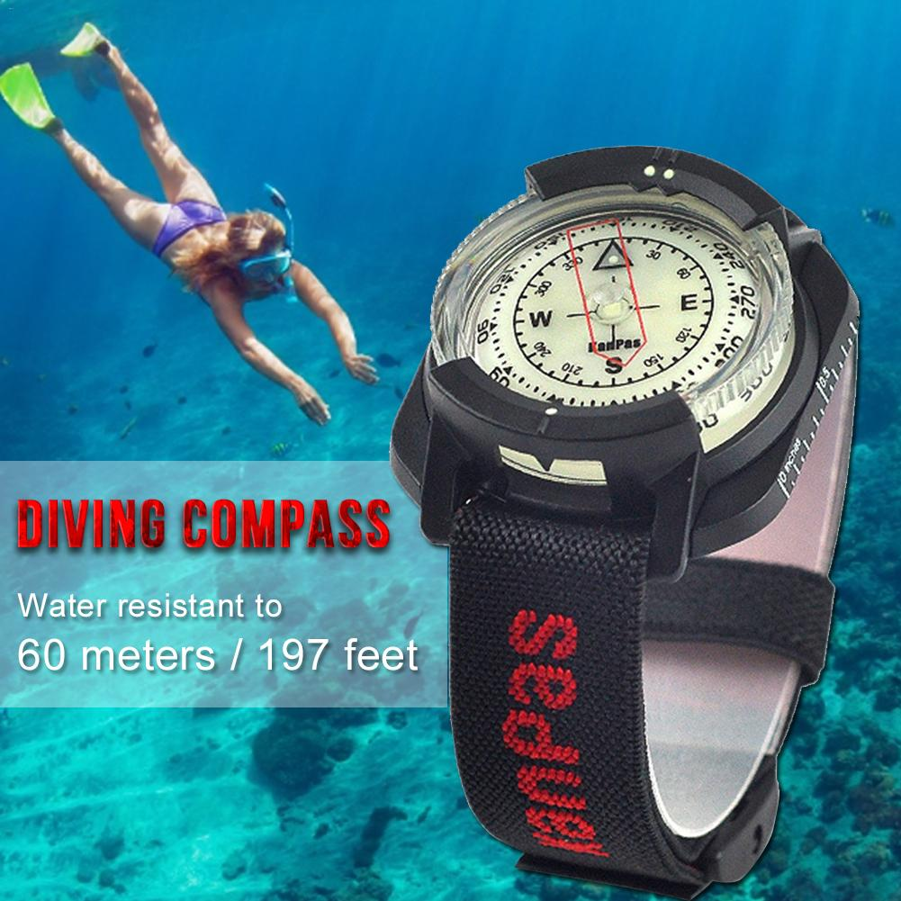 Diving Compass High Precision Professional Wrist Diving Compass 60 M / 197 Feet Outdoor Compass Fluorescent Dial Dropshipping