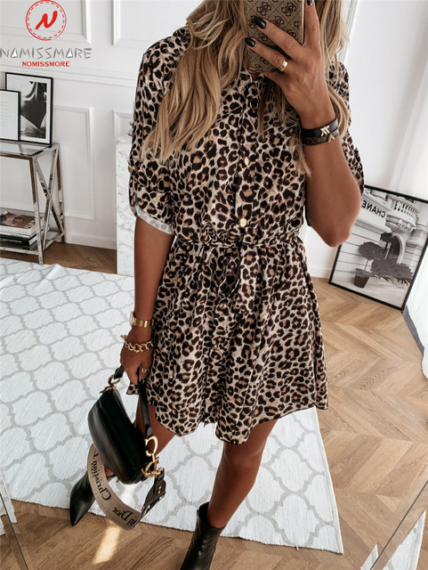 Fashion Women Spring Autumn Thin Dress Bandage Design Button Decor Turn-down Collar Long Sleeve Leopard Print Slim Mini Dress 2