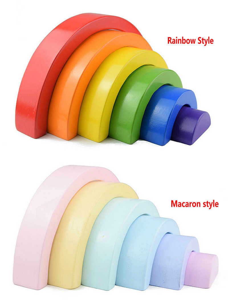 Over Rainbow Wooden Stacking Blocks, 2 Styles Rainbow And Macaron Colour Blocks, Semi-circular Building Blocks Wood Arch Bridges