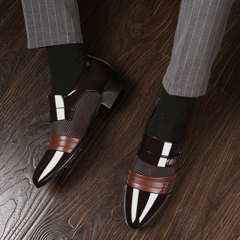 REETENE Fashion Slip On Men Dress Shoes Men Oxfords Fashion Business Dress Men Shoes 2019 New Classic Leather Men'S Suits Shoes 5