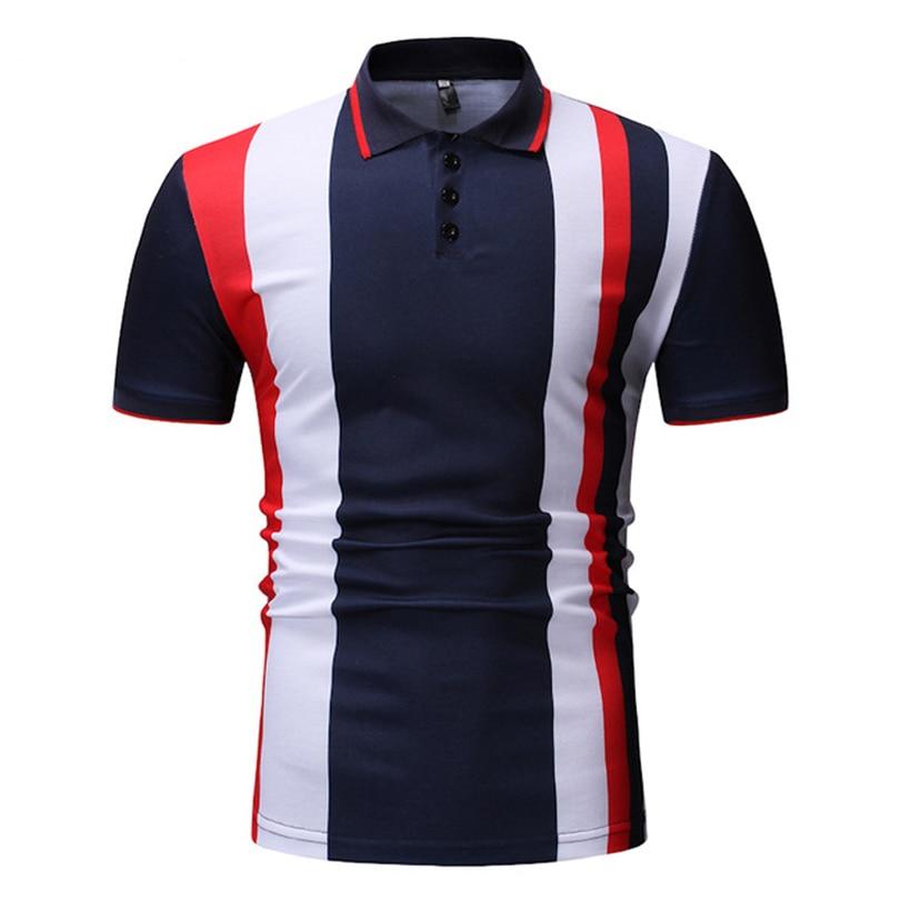 BINHIIRO Men's POLO Shirt Cotton Blends Striped Button Casual Tops Slim Fashion Business Sports Men Short Sleeve Polo Shirt 377