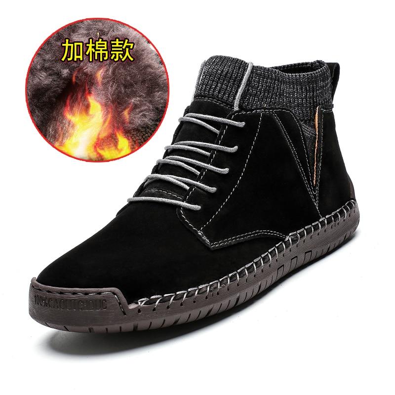 2020 brand men's snow boots winter plush warm men's motorcycle boots lace slip men's ankle boots waterproof fall men's work shoe