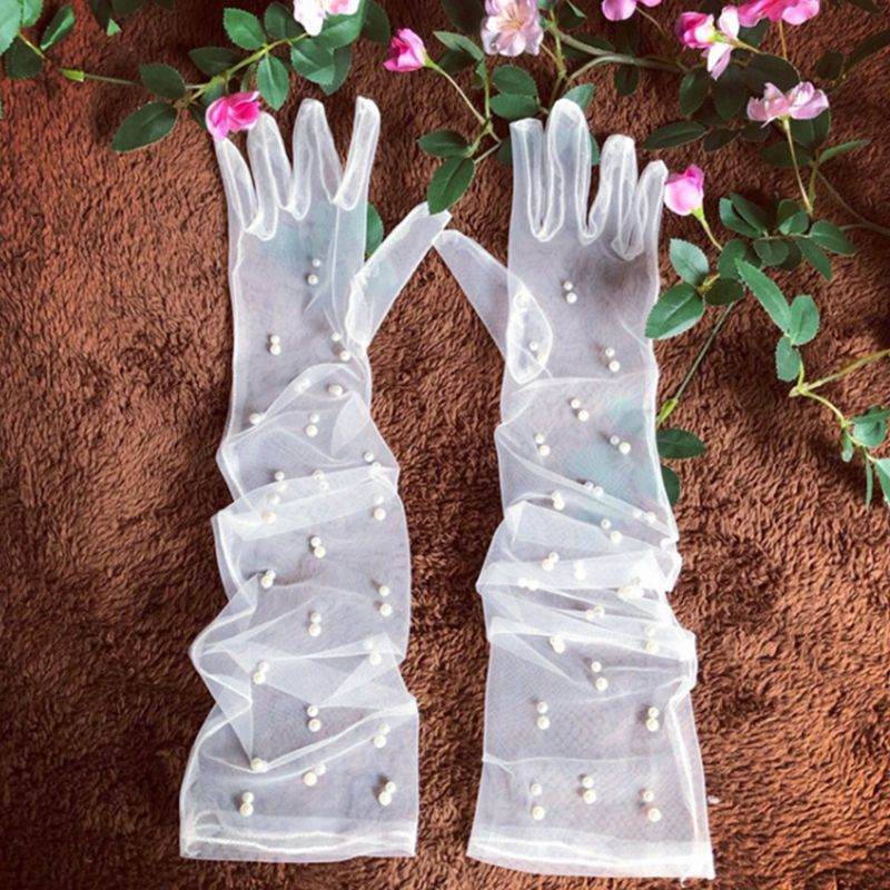 Bride Wedding Dress Accessories Long Gauze Artificial Pearl  White Gloves E15E