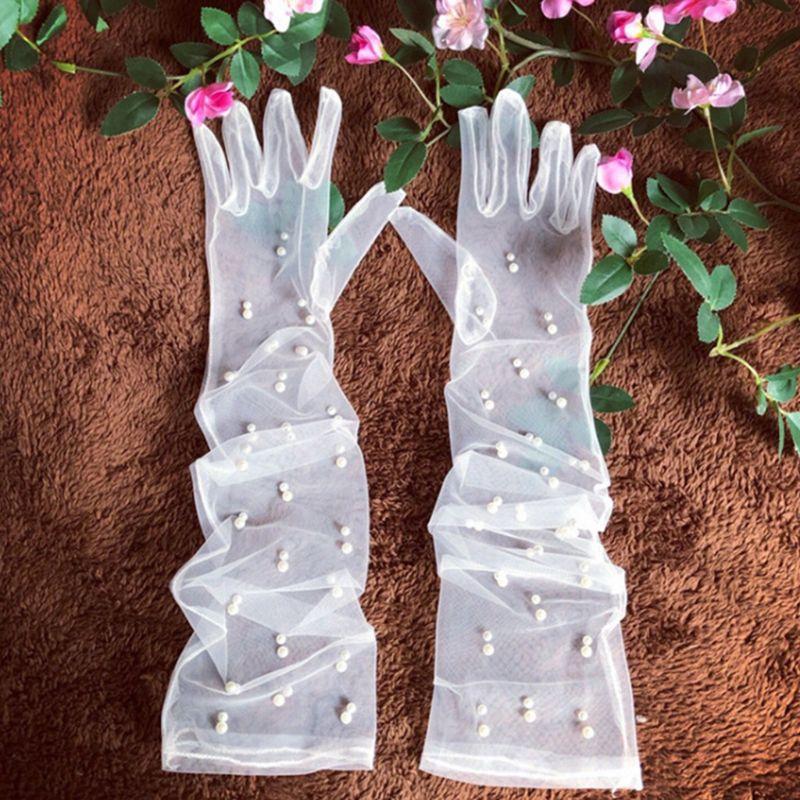 Bride Wedding Dress Accessories Long Gauze Artificial Pearl  White Gloves E15E