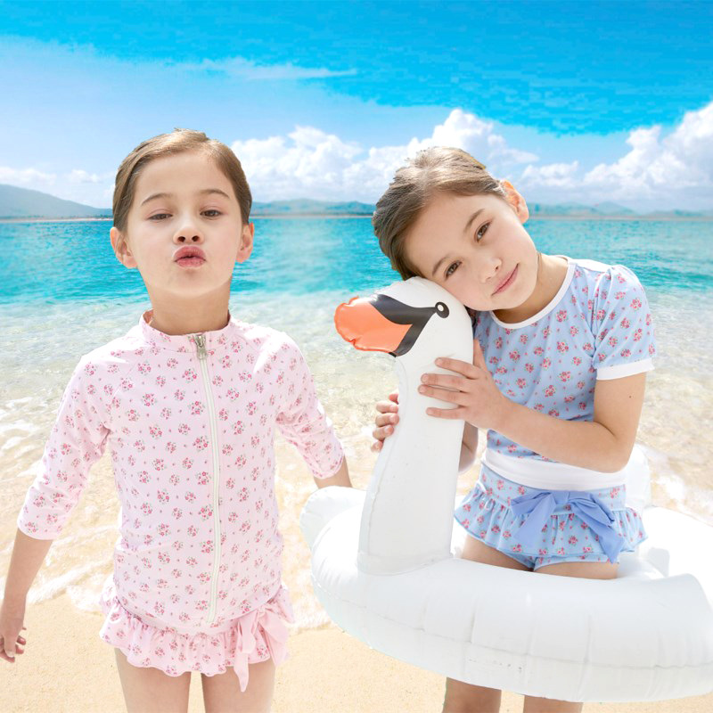 2020 KID'S Swimwear Big Boy Long Sleeve Floral-Print T-shirt Cute GIRL'S Split Type Three-piece Set Swimwear Hot Springs