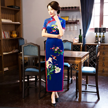 Velvet Long Qipao Women Chinese Prom Dress Oriental Classic Sexy Cheongsam Large Size 3XL Novelty Evening Party Gown Vestidos