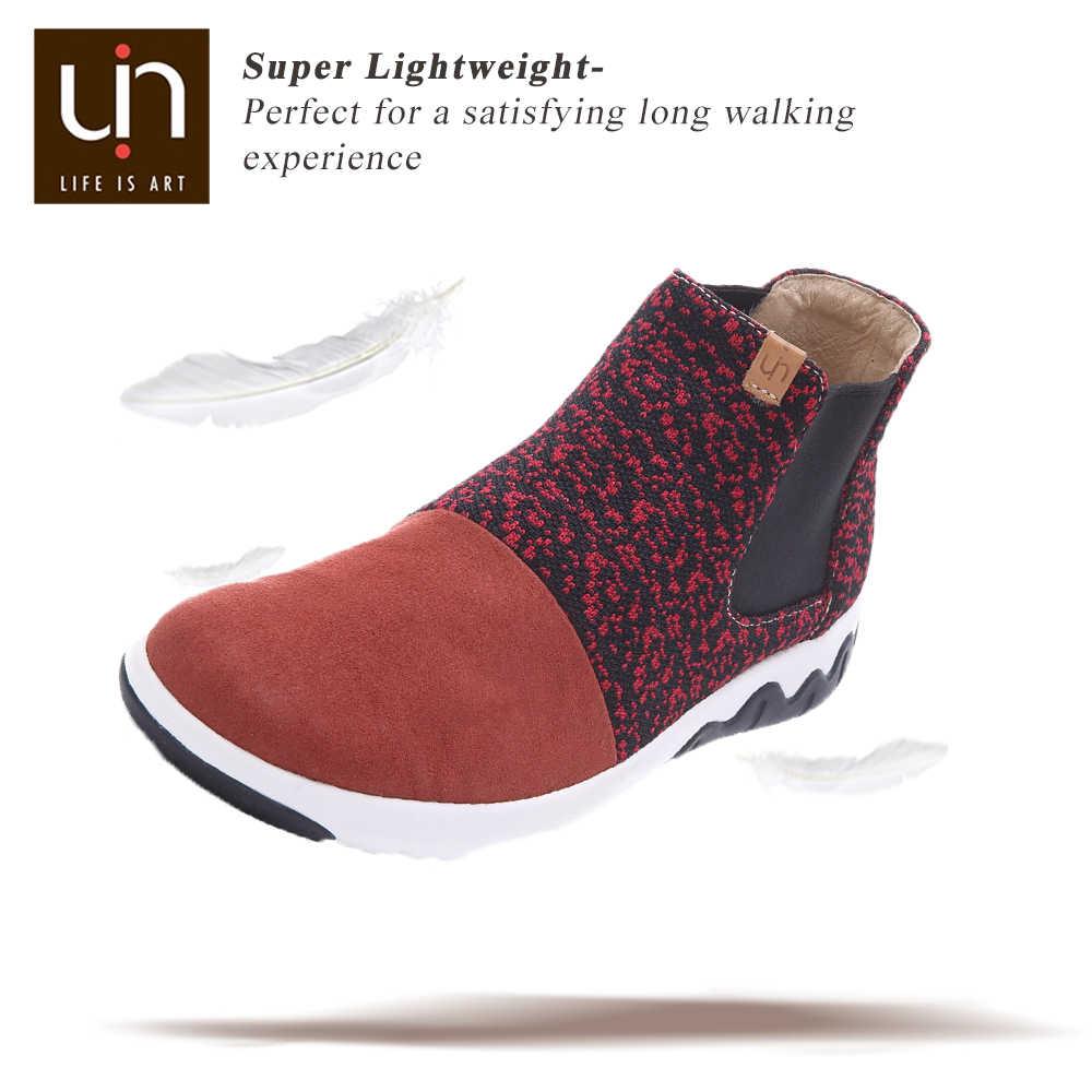 UIN Dr Ken serisi sonbahar/kış yarım çizmeler için kadınlar/erkekler örme/mikrofiber süet çizmeler sıcak konfor ayakkabı açık günlük çizmeler