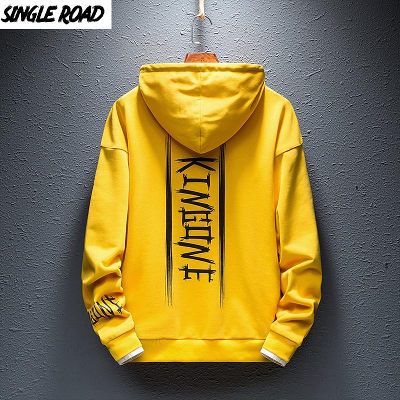SingleRoad Men's Hoodies Men 2020 Japanese Streetwear Hip Hop Harajuku Yellow Hoodie Men Sweatshirt Male Casual Sweatshirts