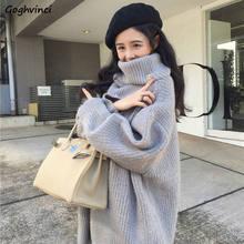 Suéter de cuello alto para mujer, suéteres de talla grande 5XL para mujer, prendas de vestir de invierno elegantes y simples, estilo Harajuku