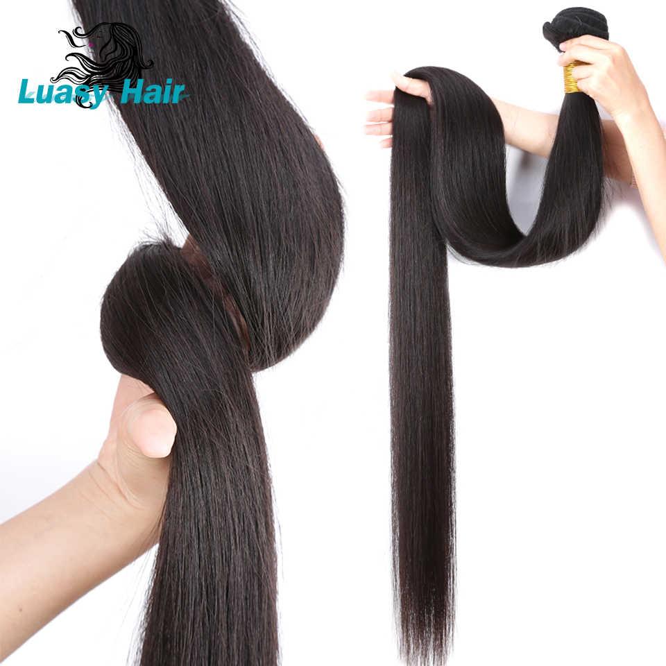 Luasy ضفيرة شعر برازيلي حزم مستقيم 100% شعر ريمي التمديد اللون الطبيعي 30 32 34 36 38 40 شعر بشري بالبوصة حزم