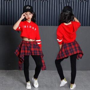 Image 2 - 子供のスポーツスーツ綿の服韓国のファッションヒップホップストリート十代の少女パーカートレーナー + チェック柄スカートパンツ