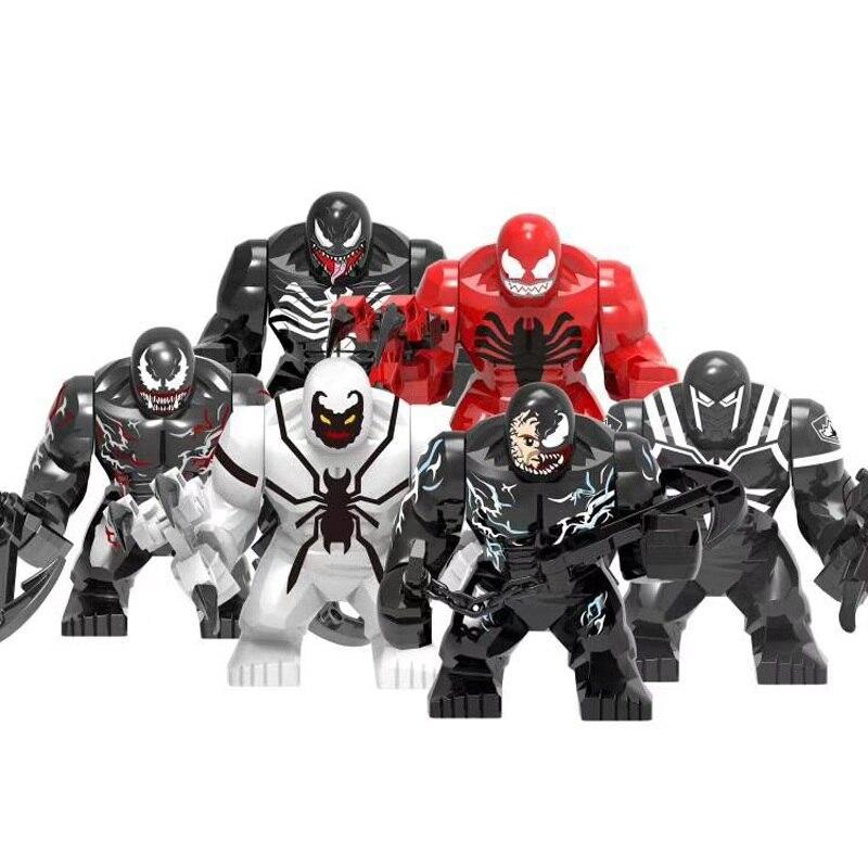 Новый фильм Веном большой размер персонаж яд Carnage анти яд бунт модель строительные блоки просветить фигурку игрушки для детей
