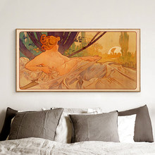1899 aube et crépuscule Alphonse Mucha Art Nouveau déesse Vintage lithographie français femme beauté Nature Art toile peinture décor