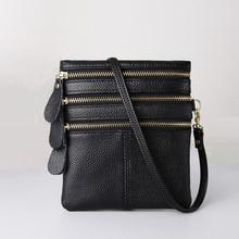 MJ نساء حقائب كروسبودي جلد طبيعي جودة عالية متعددة سستة لينة الجلد الحقيقي حقيبة ساعي حقيبة الهاتف محفظة صغيرة الإناث