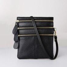 Mj mulheres crossbody sacos de couro genuíno de alta qualidade multi zíper macio saco do mensageiro de couro real feminino pequena bolsa de telefone