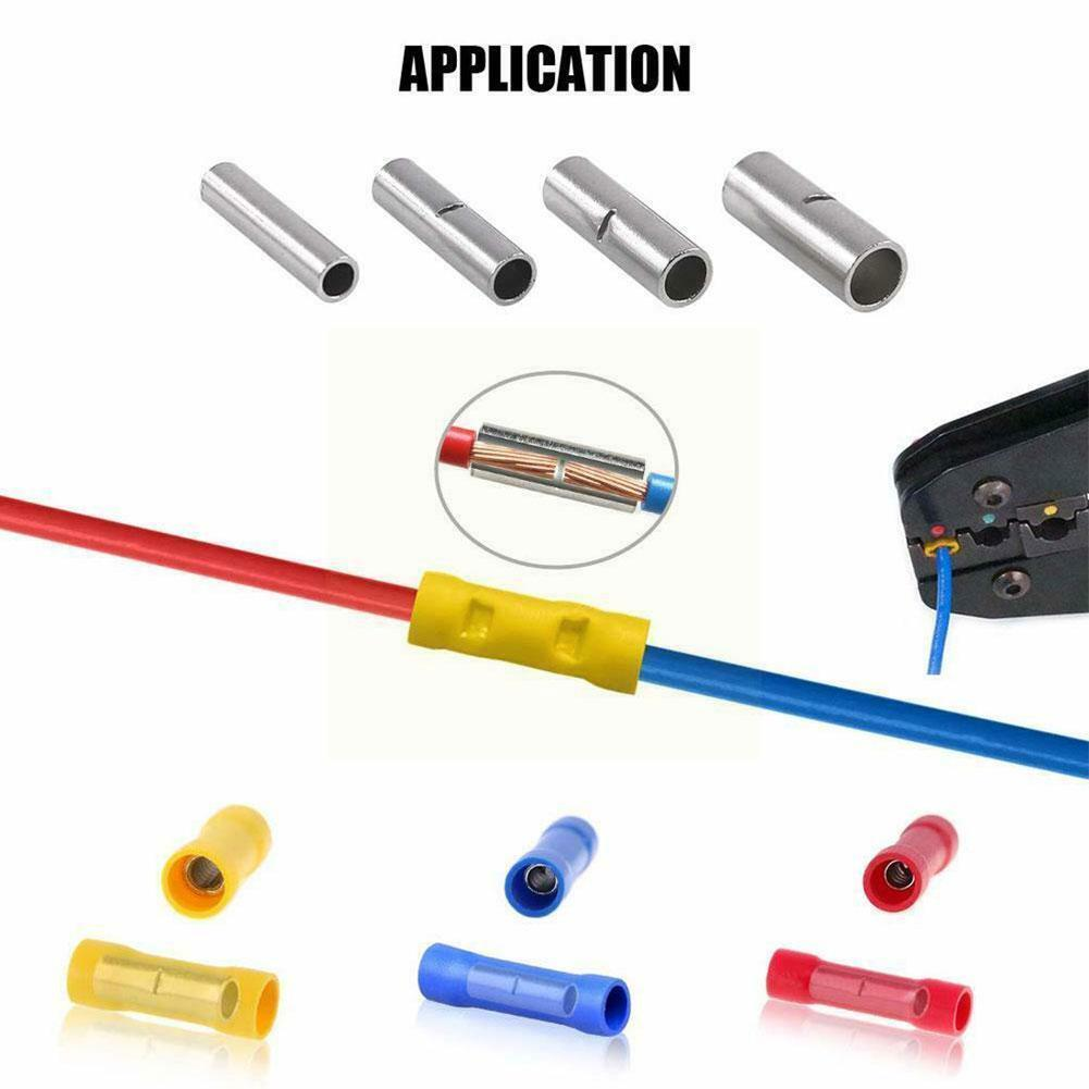 Assorted Insulated Crimp Terminals Electrical Wire Terminal Non Connectors Cable Insulated Crimping Butt Kit Butt Connector C2k9
