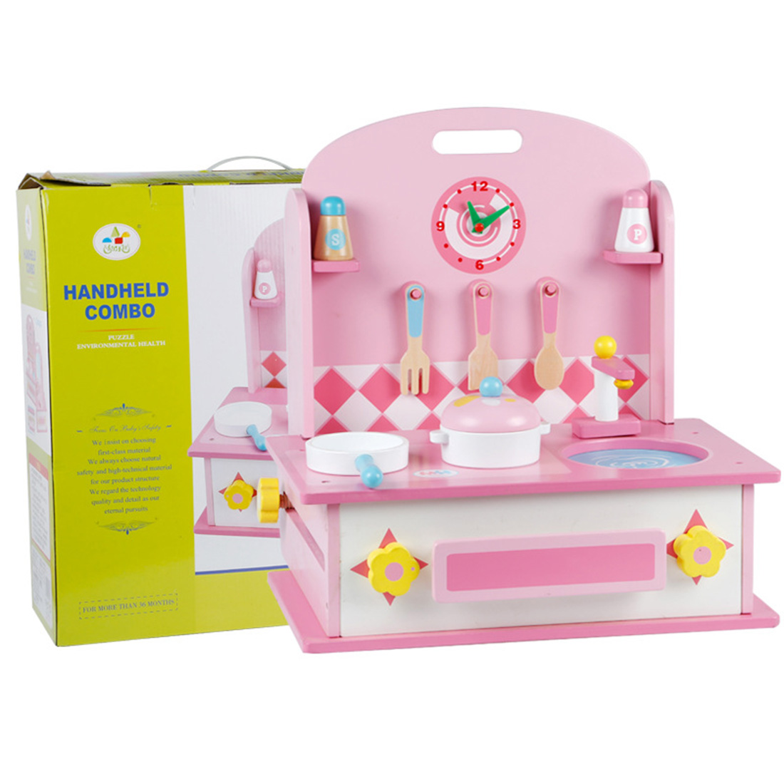 14Pcs 2-in-1 Children Pretend Play Wooden Dressing Table Kitchen Counter Playset Educational Make Up Toy Gift Set For Girls