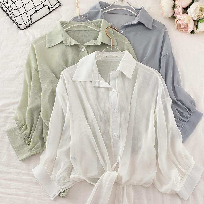 Chiffon Shirt Women Summer Buttoned Up Korean Batwing Sleeve Tied Waist Shirts Womens 2020 Ladies Casual Elegant Sunscreen Tops