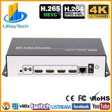 Tiết Kiệm Chi Phí 4 Kênh 4K HEVC H.265 H.264 HDMI Bộ Mã Hóa Video HDMI Để IP Truyền Bộ Mã Hóa Với UDP HLS RTMP RTSP RTMPS SRT