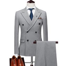 Мужские двубортные костюмы Terno Masculino, приталенные мужские официальные костюмы, брендовые Черные Серые куртки, брюки, жилет