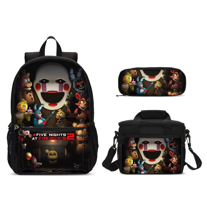 2019 cinq nuits à Freddy's Print sacs d'école ensemble pour garçons sac à dos pour ordinateur portable cartable haute qualité alimentaire paquet enfants livre sac