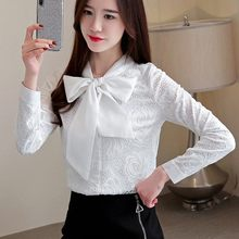 Mode Vrouwen Slim Bow Lace Shirts Office Lady Wit Zwart Tops Koreaanse Hoge Kwaliteit Single Breasted Kleding(China)