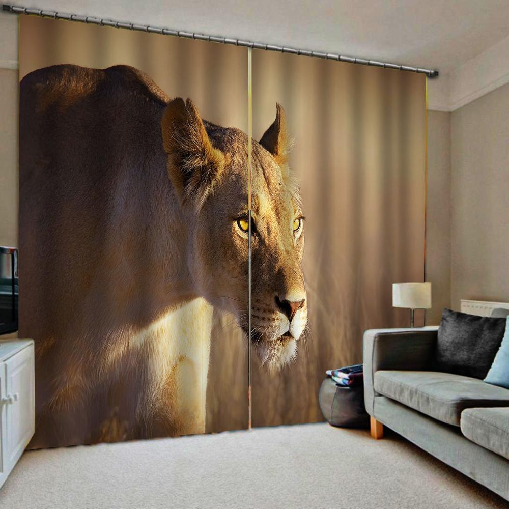 3D Curtains Window Animal Curtains For Kids Room Lion Design Curtains For Window Kitchen Door Finished Drapes
